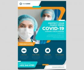 Protect your family from COVID -19 flyer vector