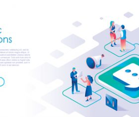 Public relations isometric template vector