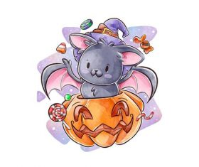 Pumpkin and bat halloween watercolor illustration vector