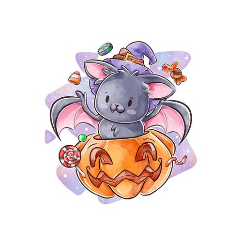 Pumpkin and bat halloween watercolor illustration vector