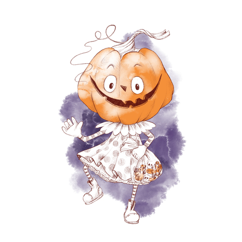 Pumpkin man halloween cartoon vector