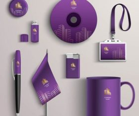 Purple background business identity design vector