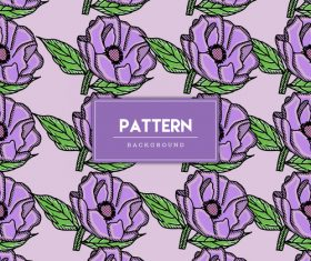 Purple flowers decorative seamless pattern background vector