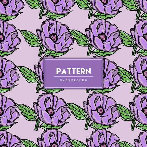 Purple flowers decorative seamless pattern background vector