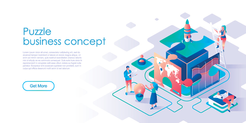 Puzzle business concept isometric template vector
