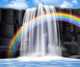 Rainbow andwaterfalls background vector