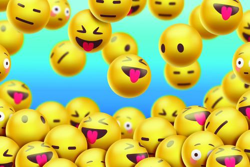 Realistic emoji background vector