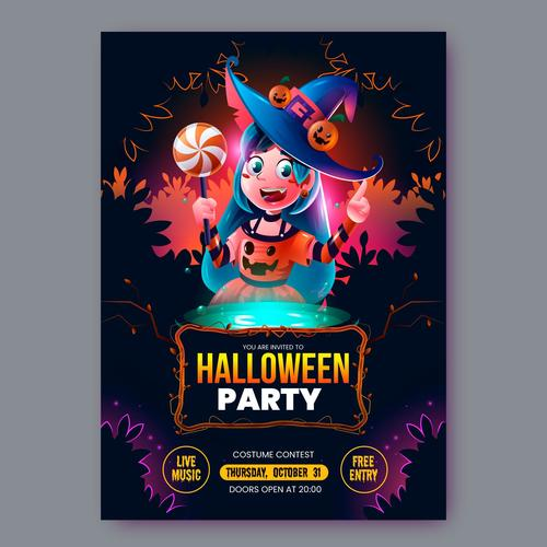 Realistic halloween party flyer template vector