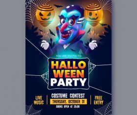 Realistic halloween party flyer vector