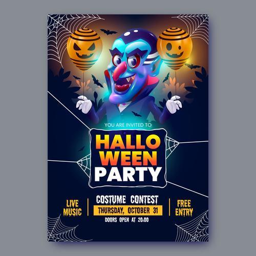 Realistic halloween party flyer vector