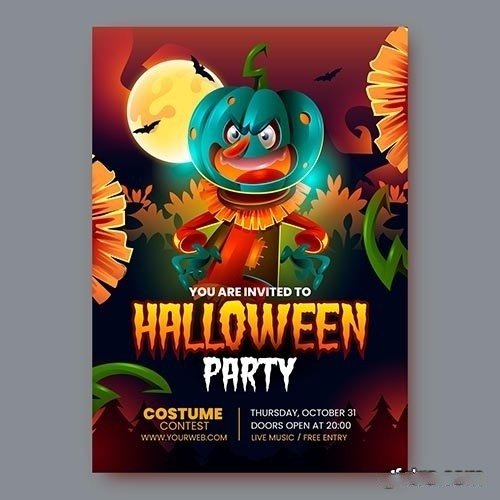 Realistic halloween party poster vector