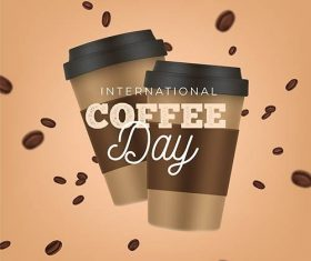 Realistic international day of coffee vector