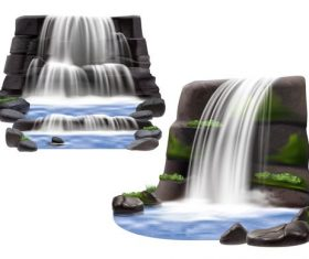 Realistic waterfall compositionss background vector
