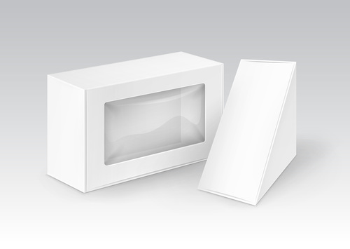 Rectangle and triangle cardboard box for vector