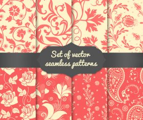 Red background flower seamless pattern vector