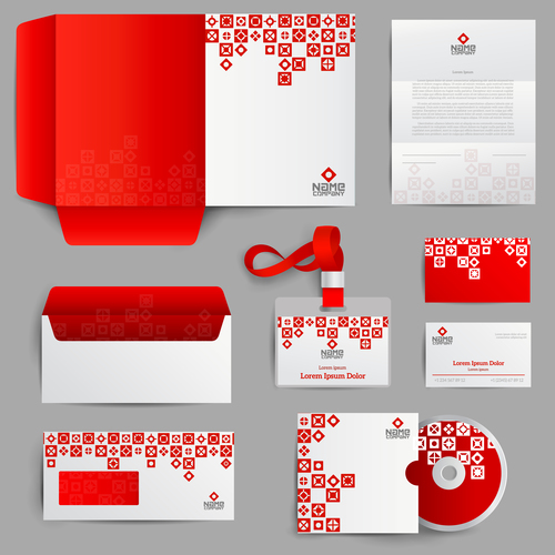Red business stationery design vector