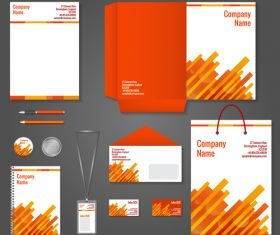 Red yellow background corporate identity design vector