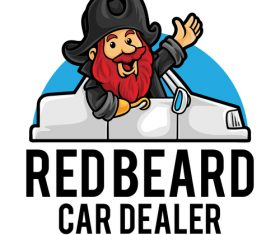 Redbeard car dealer icon vector
