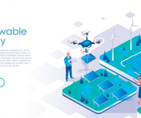 Renewable energy isometric template vector
