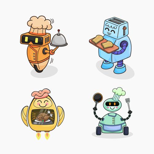 Robot chef vector