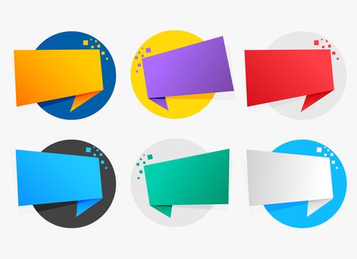 Round origami chat bubble vector