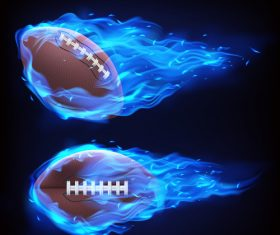 Rugby flying in fire realistic vector