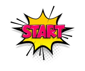 START comic bubble text vector