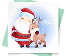 Santa and deer vector
