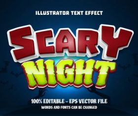Scary night editable font effect text vector