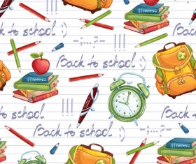 School bag and alarm clock background vector