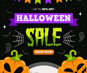 Shop now halloween background vector