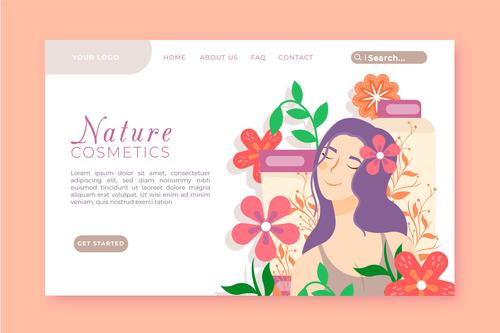 Skincare landing page vector