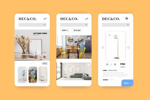 Smartphone app pack order furniture vector