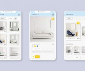 Smartphone shopping app pack vector