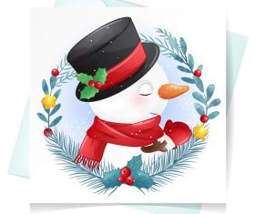 Snowman christmas greeting card vector