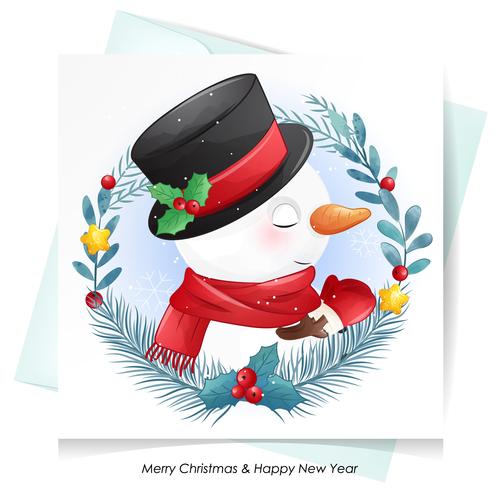Snowman christmas greeting card vector