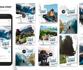 Social media stories Instagram template travel vector