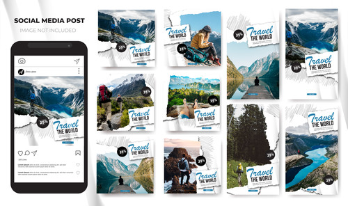 Social media stories Instagram template travel vector