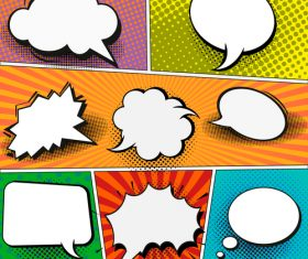 Speech comic book set design vector