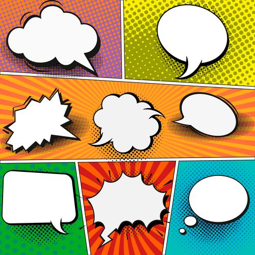 Speech comic book set design vector