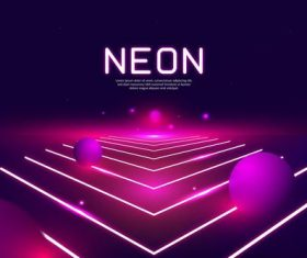 Sphere running neon background vector