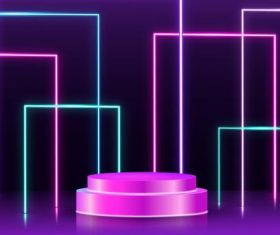 Stage design neon effect vector