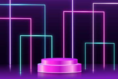 Stage design neon effect vector