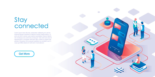 Stay connected isometric template vector