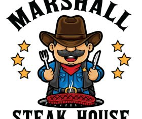 Steak house icon vector