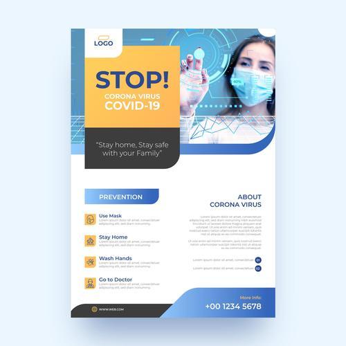 Stop corona virus COVID  19 flyer vector