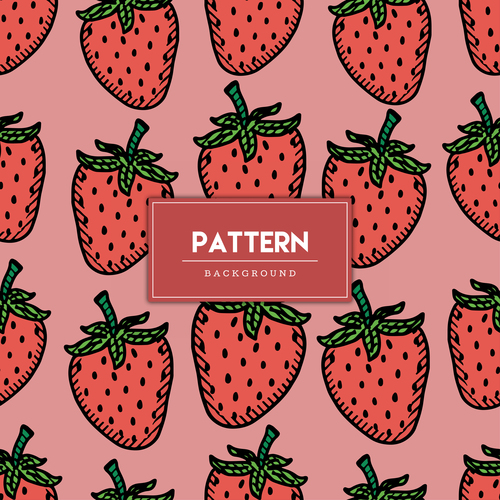 Strawberry decorative seamless pattern background vector