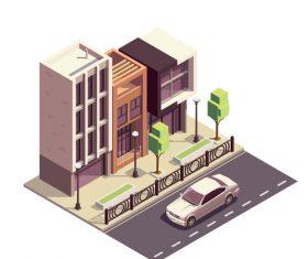 Street building illustration vector