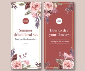 Summer ried floral set banner vector