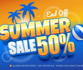 Summer sale editable font effect text vector